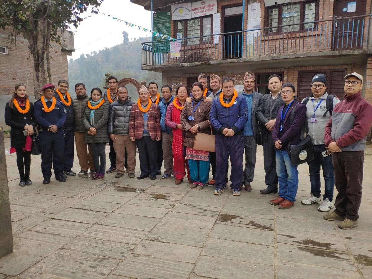 District Judge Mr. Arjun Adhikari and other guests during monitoring mediation center of Banepa Municipality 14, Kavre district